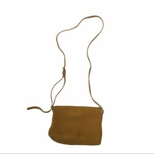 COS small yellow suede cross body purse